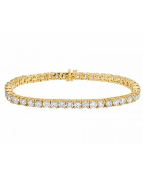 14K Yellow Gold One Row Solitaire Real Diamond Bracelet 16ct 5MM .35ptr