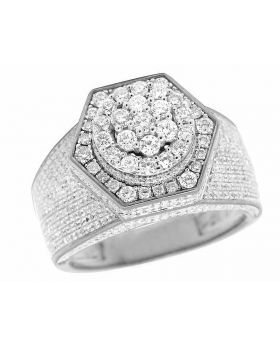 Men's 10K White Gold Genuine Diamond 3D Hexagon Wedding Pinky Ring 3 Ct 14MM