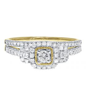 3 Stone Halo Bridal Ring Set in Yellow (0.51 ct)