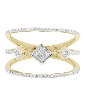 10k Yellow Gold Triple Cluster Diamond Ring (0.50 ct)