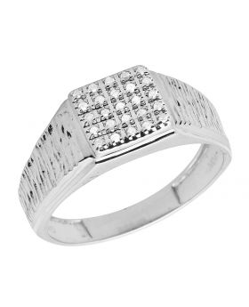 Men's 10K White Gold Real Diamond Square Pinky Engagement Ring 0.18ct