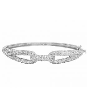 Ladies 10K White Gold Real Diamond Iced Bangle Bracelet 3.0Ct