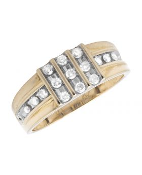 Men's Yellow Gold Channel Set Diamond Wedding Band Ring (0.45ct)