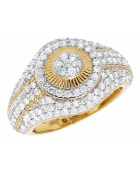 Men's 10K Yellow Gold Real Diamond Dome Pinky Ring 2.0ct