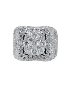 Solitaire Ring with Channel Set Diamonds in 14k WG (4.84 Ct)
