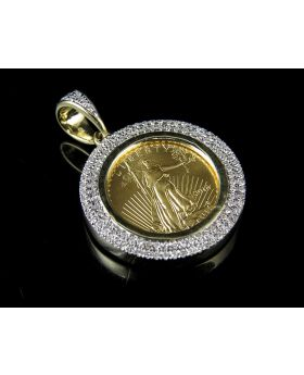 """24K Solid Yellow Gold Coin Lady Liberty Real Diamond Pendant .44ct 1.2"""""""