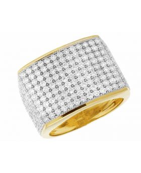 10K Yellow Gold Genuine Diamond Pave Pinky Ring 4CT 17MM