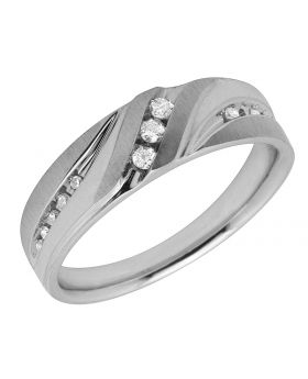 Men's 10K White Gold Real Diamond Fit Band Ring 0.25ct