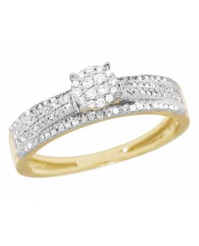 Ladies 10K Yellow Gold Genuine Diamond Cluster Engagement Ring 2/5 Ct 5MM