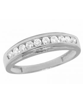 Men's 14K White Gold Real Diamond One Row Channel Wedding Band Ring 7/10 CT 5MM