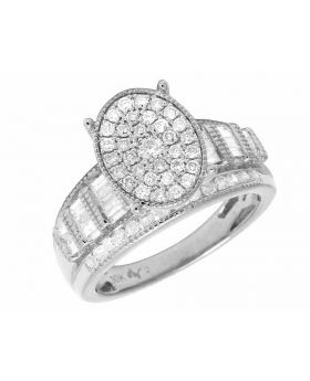 10K White Gold Oval Cinderella Real Diamond Ring .50CT