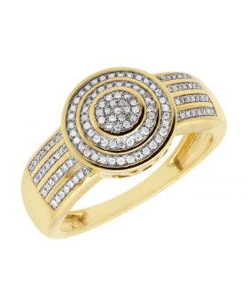 10K Yellow Gold Men's Round Pave Row Pinky Ring .33ct
