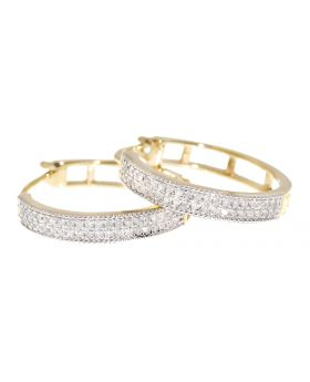 2 Row Pave Diamond Hoop in Yellow Gold (0.27 ct)