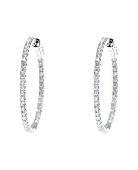 In-Out Design Diamond Hoops in 14k Gold, 28mm (1.0ct)