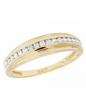 10K Yellow Gold Real Diamond Channel One Row Wedding Band Ring 1/2 CT 5MM