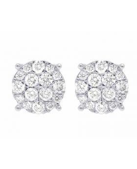 10K White Gold Genuine Diamond Round Stud Earrings 1.6 CT