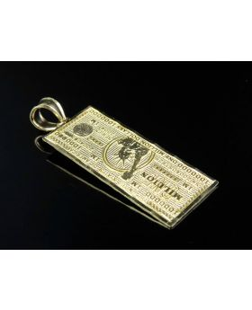 10K Yellow Gold One Million Dollar Currency Diamond Cut Note Pendant 1.4 inches