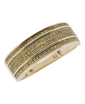 Canary Diamond Mens Band in 10K Yellow Gold (0.50 ct)