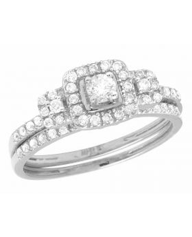 10K White Gold Real Diamond Halo 2 Piece Engagement Ring Set 0.55 CT