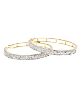 30mm Pave Diamond Hoops in Yellow Gold (0.75 ct)