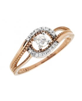 Ladies Two Tone Solitaire Accent Diamond Swirl Shank Engagement Ring (0.25ct)