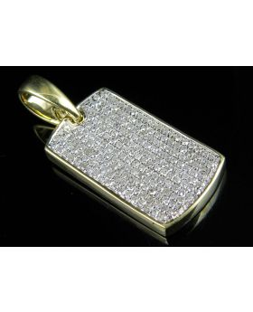 Yellow Gold Mens Iced Out Dogtag Genuine Diamond Pendant 0.75 Ct 1.2""