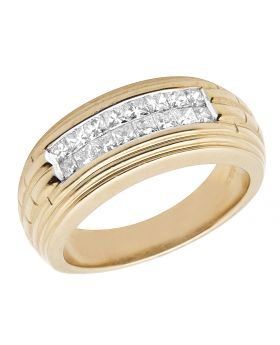 Men's 14K Yellow Gold Princess Real Diamond Wedding Band Ring 1.0 Ct