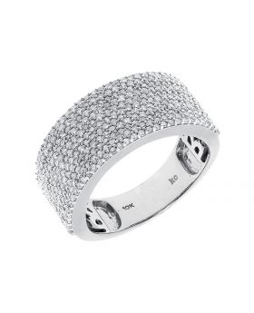 9mm Round Diamond Fashion Wedding Band in White Gold (1.27 ct)