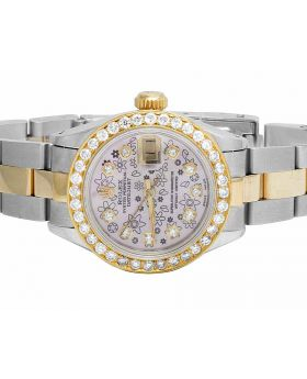 Ladies Rolex Datejust Pink Dial 26 MM 18k/Steel Diamond Watch 2.5