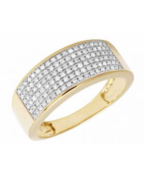 Men's 6 Row Pave Diamond Band Ring 10k Yellow Gold .85 ct 9MM