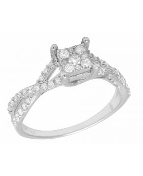 10K White Gold Real Diamond Infinity Square Engagement Ring .50CT