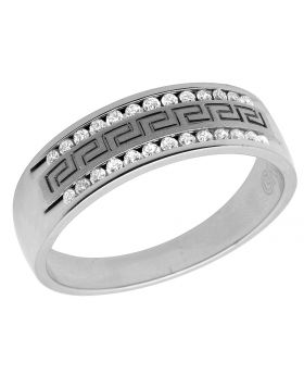 14K White Gold Real Diamonds Men's Greek Ring Band 0.25ct 6MM