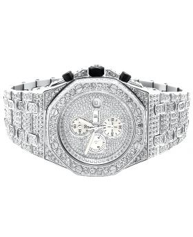 Iced Out Stainless Steel Simulated Diamond Watch AP-01