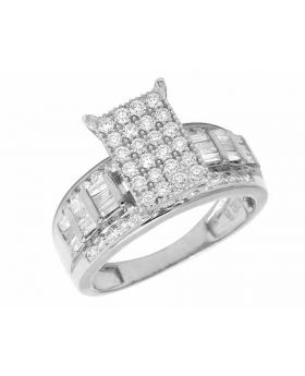 10K White Gold Real Baguette Diamond Cinderella Engagement Ring 1.6CT