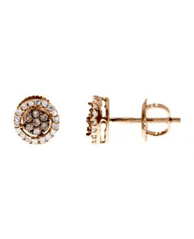 Brown/White Diamond Cluster Earrings in 10k Rose Gold, 7mm (0.25ct)