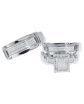 10k White Gold Mens Ladies Trio Wedding Ring Set (0.60 ct)