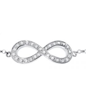 Infinity Bracelet in White Gold (0.14 ct)