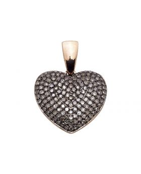 10k Rose Gold Puffed Heart Round Brown Diamond 1.20 ct Ladies Pendant