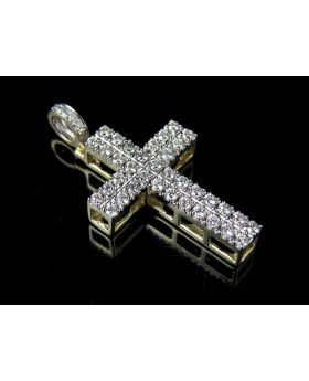 10K Yellow Gold 2 Rows Prong Cross Diamond Pendant Charm 1.10ct 1.4""
