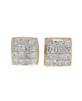 Princess Cut Invisible Set Studs in 14k Yellow Gold (.75 Ct)
