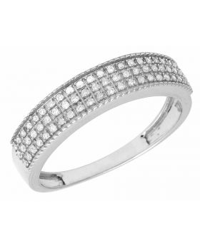 10K White Gold 3 Row Real Diamond Band Ring .40ct 5MM
