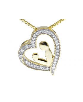 Mother-Child Heart Diamond Pendant in 10k Gold (0.10ct)