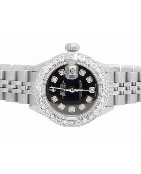 Ladies Rolex Datejust Black Dial 26 MM Steel Diamond Watch (2.5 Ct)