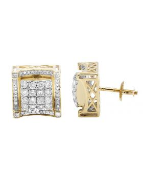 10K Yellow Gold Genuine Diamond Square 3D Stud Earrings 1.4Ct 12MM
