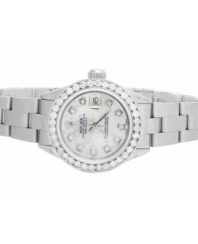 Ladies Rolex Datejust White MOP Dial Stainless Steel Diamond Watch (2.0 Ct)