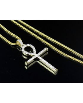 10K Yellow Gold Real Diamond One Row Ankh Cross Pendant Chain Set 1.10ct 1.8""