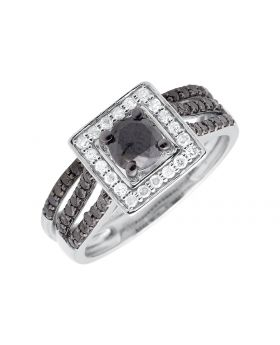 10K White Gold Solitaire Halo Black And White Diamond Engagement Bridal Ring 1CT
