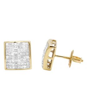 14K Yellow Gold Princess Real Diamond Square Stud Earrings 1.05ct 9MM