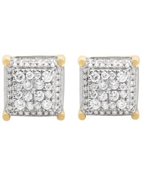 10K Yellow Gold Square Cube Diamond Stud Earrings 11mm 1.35ct