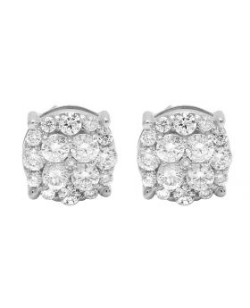 10K White Gold Real Diamond Cluster Prong Round Stud Earrings 1.0ct 8MM